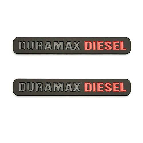 2x Duramax Diesel Emblem Decal Truck Fender Hood Badge Replacement For 2500HD 3500HD (Black Red)