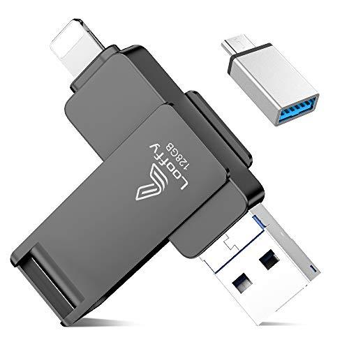 USB Stick 128GB für iPhone iPad, Looffy USB Stick Speicherstick Externer Speichererweiterung USB C-Flash-Laufwerk Backup Stick für iOS Android Handy MacBook Computer Laptop 4 in 1
