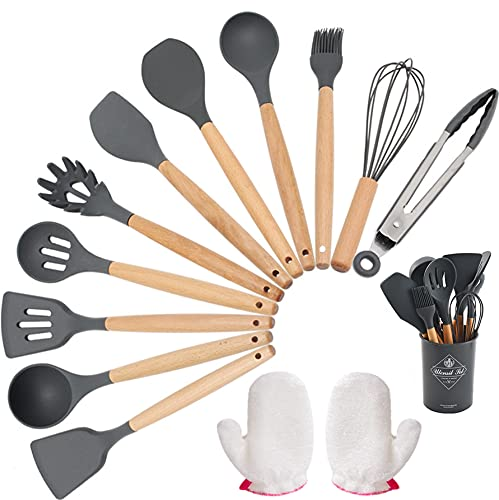 Utensilios de Cocina Silicona, Wuudi 12 Piezas Resistentes al Calor Utensilio con Mango de Madera Herramientas para Hornear en la Cocina Guantes de Fibra de Bambú