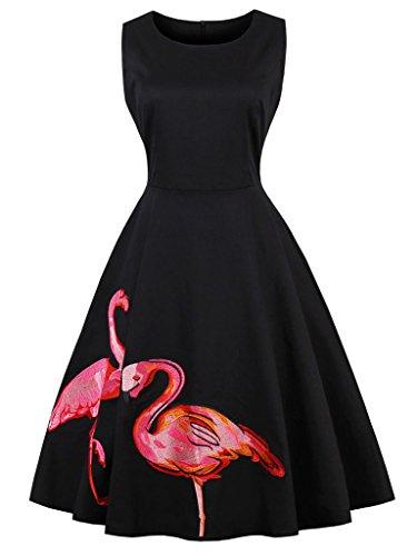 FAIRY COUPLE Cóctel 50s floral retro del swing vestido de fiesta con el arco para Mujeres S Flamenco Negro