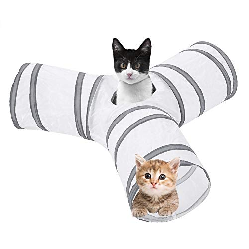 Rascheltunnel Faltbare 3 Wege Katzentunnel Spieltunnel Katzenspielzeug Haustier Interaktiv Trainingsspielzeug für Kaninchen Katze Hunde und Kleintiere Haustier, ø 25 cm/Länge 150 cm(Weiß)