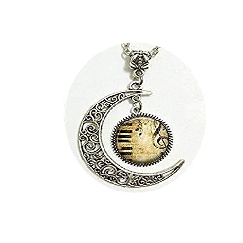 fei lang Halskette mit Schlüsselanhänger, Motiv Tastatur und Notenschlüssel, Musik-Geschenk, Schmuck, Mond-Halskette, Glaskunst