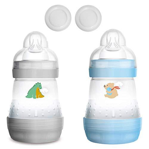 MAM Biberón anticólicos de 160 ml, juego de 2 unidades, incluye tetina de tamaño 1 a partir del nacimiento.