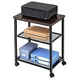 FITUEYES Druckerständer Druckerhalter mit Rädern Holz Metall Braun Mesh 2 Regal Wagen für Büro Küche und Zuhause 60x40x74cm PS306001MW