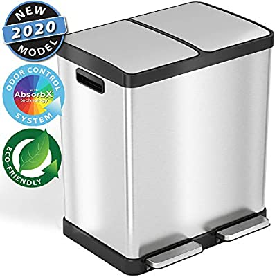 iTouchless SoftStep 16 Gallon Step Trash Can & Recycle Bin with Activated Carbon Filter Deodorizers, Stainless Steel, 2 x 8 Gallon (30L) Removable Color-Coded Buckets, Soft Close and Airtight Seal