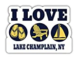 I Love Lake Champlain New York Souvenir 4 Inch Vinyl Decal Sticker