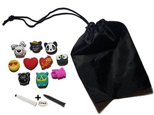 PLUE 10 Cute Animals Tennis Dampeners Bundle + 2 Soft Overgrips + Nylon Drawstring Bag - Soft Silicone - Reduce Vibration-The Best Bundle (Cute Animals)