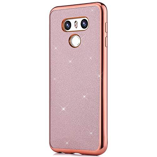 Qpolly - Carcasa de silicona suave y brillante compatible con LG G6, color Glitter Oro Rosa LG G6