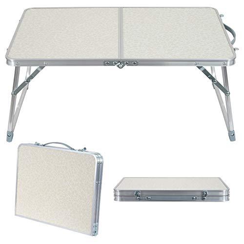 折り畳み式ローテーブル ミニテーブル アウトドア サイドテーブル 60x40x25cm ベッド上 アウトドア オフホワイト 三角フィート