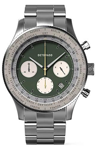 DETOMASO Firenze Chronograph Green Herren-Armbanduhr Analog Quarz Edelstahl-Armband Silber