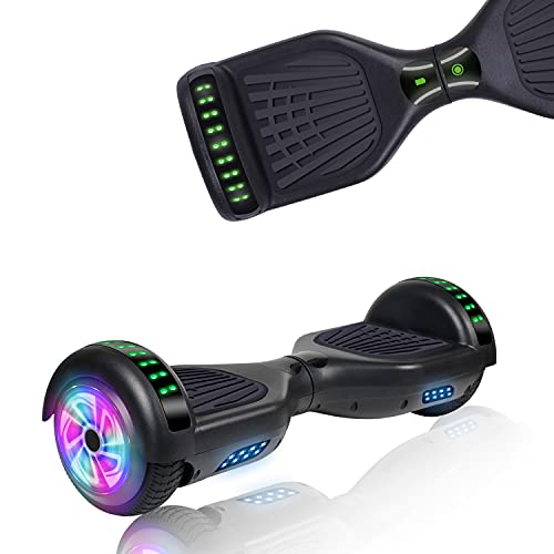 UNI-SUN Hoverboard for Kids, 6.5' Two Wheel Self Balancing Hoverboards with Bluetooth and Lights, Black Hover Board