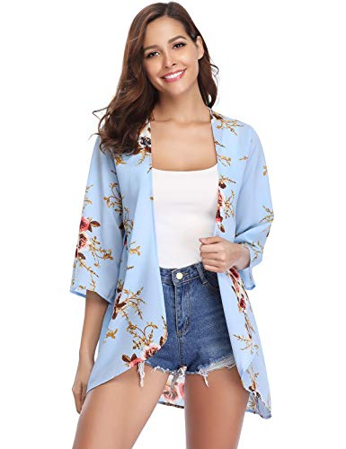Aibrou Women's Floral Kimono Cardigans,3/4 Sleeve Tops Loose Floral Blouse Casual Boho Style Capes(Azul Claro S)