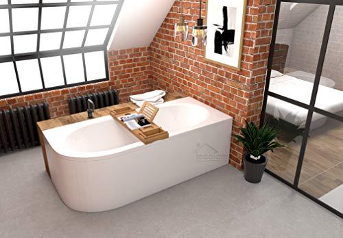 ECOLAM Badewanne Wanne Eckwanne Eckbadewanne für Zwei Modern Design Acryl weiß Avita 180x80 cm RECHTS + Ablage Bambus + Schürze Ablaufgarnitur Ab- und Überlauf Automatik Füße Silikon Komplett-Set