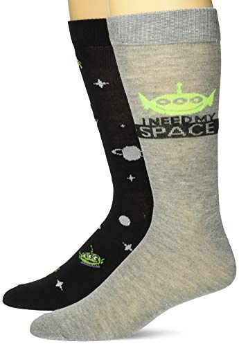 Toy Story paquete de 2 calcetines para hombre, Black and Grey Alien, Fits Sock Size 10-13 fits Shoe Size…