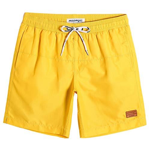MaaMgic Herren Badehose Jungen Badeshorts Sporthose Schnelltrockend Sport Schwimmhose mit Mesh in vielen Farben, Größen XS - 2XL,Gelb Gelb,L