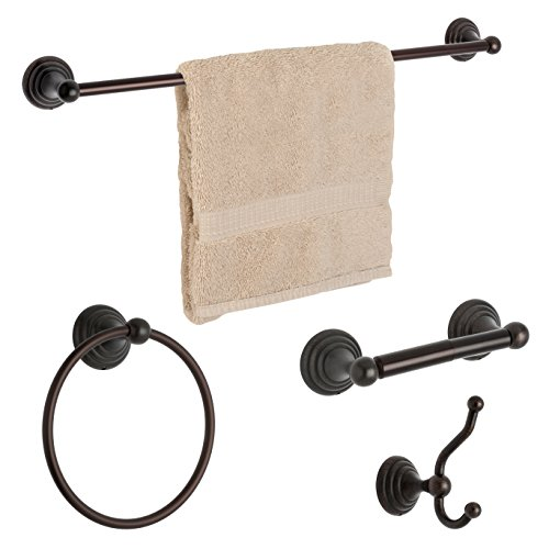 Dynasty Hardware 7500-ORB-4PC Bel-Air Series Bathroom Hardware Set, Oil Rubbed Bronze, 4-Piece Set, with 24