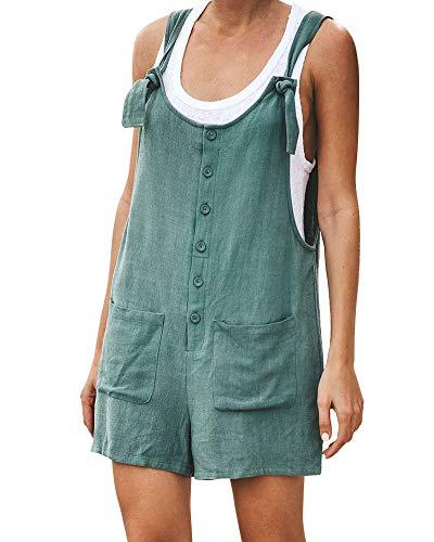 Tomwell Donna Salopette Jeans Lunga Nuovo Elegante Moda Tasche Ufficio Sciolto Solido Colore Verde IT 42