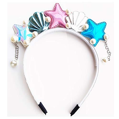 She's Shining Diadema de concha de estrella de mar con perlas, diademas de sirena para Halloween, carnaval, playa, fiesta temtica, colores arco iris