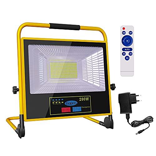 200W LED Baustrahler Arbeitsleuchte LED Solarleuchte mit Stecker IP66 Wasserdicht Wiederaufladbares LED Baulampe Camping Licht Tragbar Akku Strahler für Werkstatt Baustelle Garage (200W)