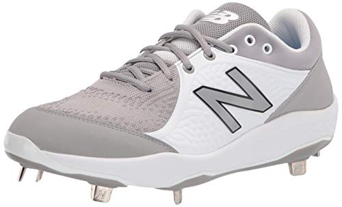 Sleek Steadiness Males's New Foam 3000 V5 Metal Baseball Shoe, Grey/White, 6.5 thumbnail