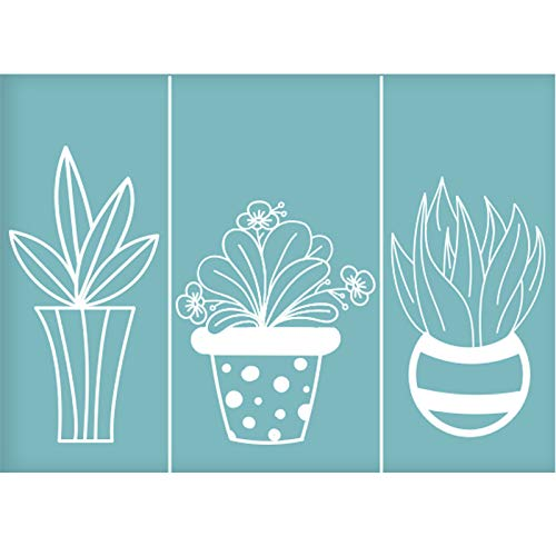 OLYCRAFT - Plantilla de Serigrafía Autoadhesiva para Plantas En Macetas, Plantillas Reutilizables para Pintar sobre Tela de Madera, Camisetas, Decoración de Pared Y Hogar