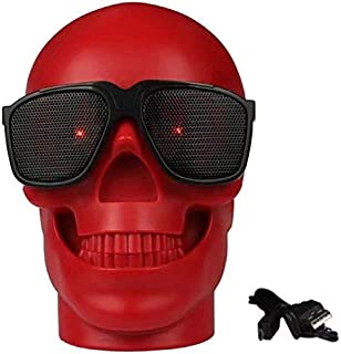 BT Skull with Sunglasses Portable Wireless Speaker for Unisex-Red CH-M29-Red