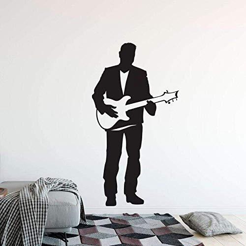 E-Gitarre Wandaufkleber Sänger Mann Mit Gitarre Vinyl Wandtattoo Home Music Club Dekoration Gitarre Sänger Wandposter 57X107Cm