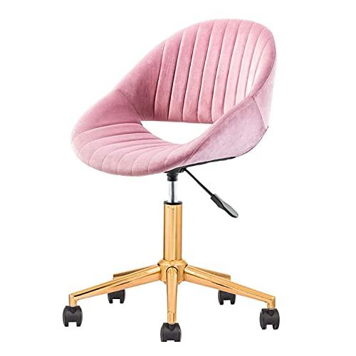 ZIHUAD Mid Back Bürostuhl Ergonomischer Drehstuhl, Samt-Computerstuhl mit Lordosenstütze, einstellbare Höhe, Schützen des Rückens, Rosa