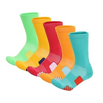 SloLife 5 Pack Women's Cushioned Hiking Walking Running Socks, Moisture Wicking Blister Resist Multi Performance Padded Quarter Crew Ankle Athletic Socks Outdoor Trekking