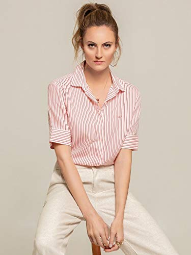 Camisa Social Feminina Listrada Coral Cecilia