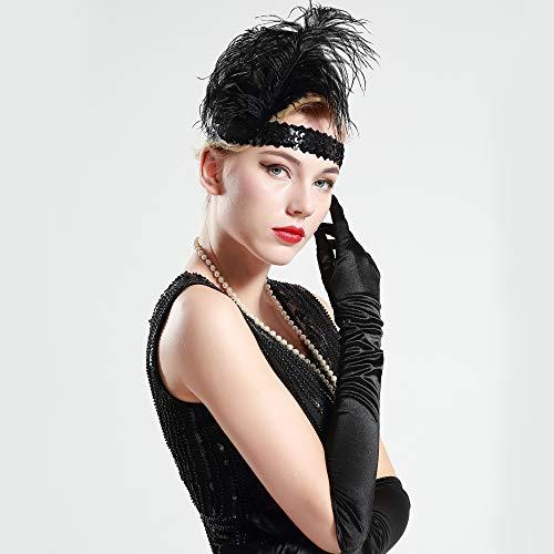 BABEYOND 1920s Stirnband Feder Flapper Stirnband Roaring 20er Showgirl Haarband Gatsby Stil Accessoires Damen Retro Stirnband - 3