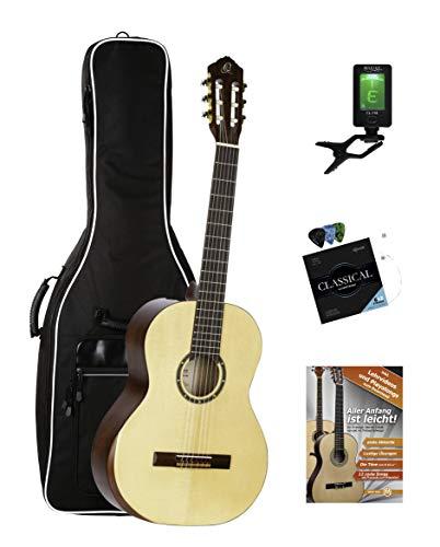 Ortega R55DLX Set (Einsteiger Konzertgitarre mit Gigbag inkl. Clip-Tuner, Gitarrensaiten mit Plektren & Gitarrenschule)