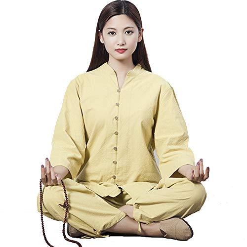 JINFAN Uniformes de Tai Chi,Ropa de Kung Fu para Mujeres, Ropa de Lino de Entrenamiento de Artes Marciales Chinas,Wing Chun Shaolin,Yellow-L