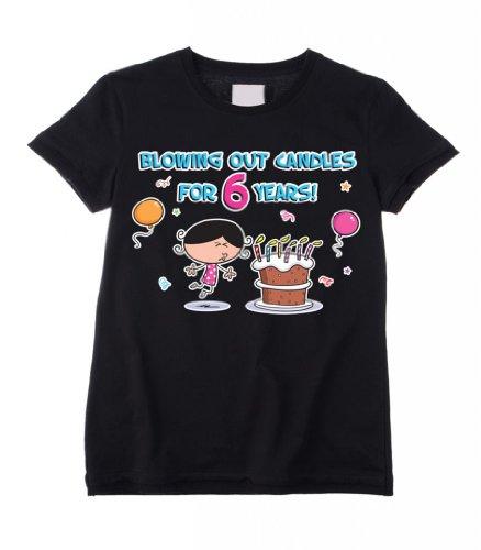 Blowing Out-Candele per compleanno, anni 6, 6-Maglietta per bambini, taglia: 5-6 anni) nero