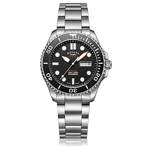 Rotary Super 7 Scuba Herren-Armbanduhr, automatisch, schwarzes Zifferblatt, silberfarbenes Edelstahl-Armband, S7S001B