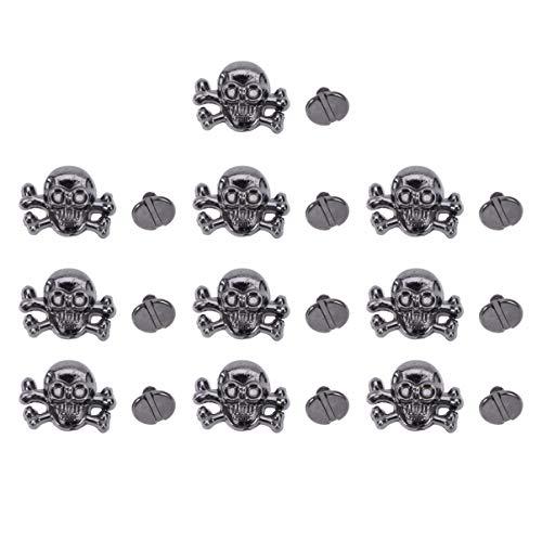 Exceart - 10 tachuelas de cabeza de calavera con puntas de metal remaches de piel punk remaches de piel para bricolaje suministros de piel artesanal decoración bolso