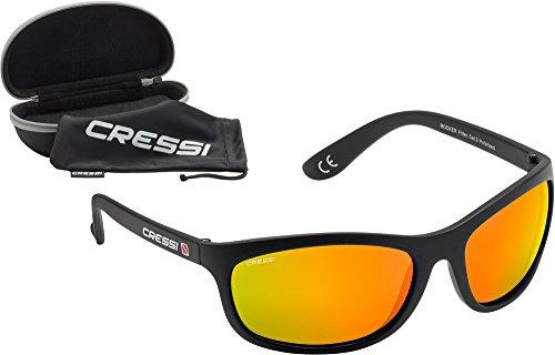 Cressi Rocker Sunglasses, Occhiali da Sole Adulto Unisex, Nero/Lenti Arancio Specchiate