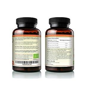 Turmeric Vitality Organic Turmeric Curcumin Capsules 1420mg High Strength Serving with Black Pepper & Ginger for Maximum Absorption of Curcumin   120 Veg Capsules - Certified Organic Supplement