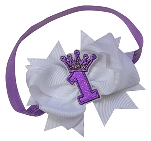 Girls 1st Birthday Elastic Headband with Sparkling Glitter Crown and Grosgrain Bow - First Birthday Outfit Accessory (Lavender)