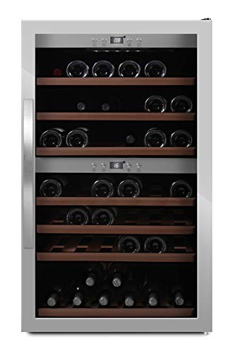 MQuvee WineExpert 66 - Nevera de vino (capacidad para hasta 66 botellas, 2 zonas de temperatura de 5 a 20 °C, altura de 104 cm)