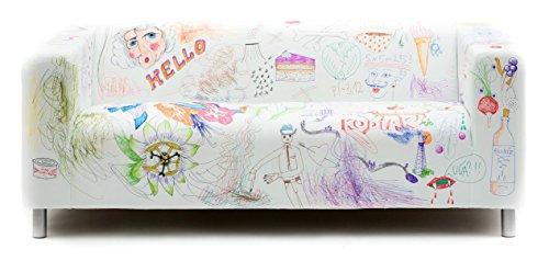 Artefly Klippan Sofabezug Design DY MARKERS mit Kissen Bezug passend für Ikea Klippan Zweisitzer