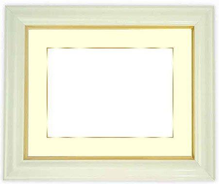 写真用額縁 工芸型/白写真六つ切(254×203mm) ガラス マット付(金色細縁付き) マット色:黒