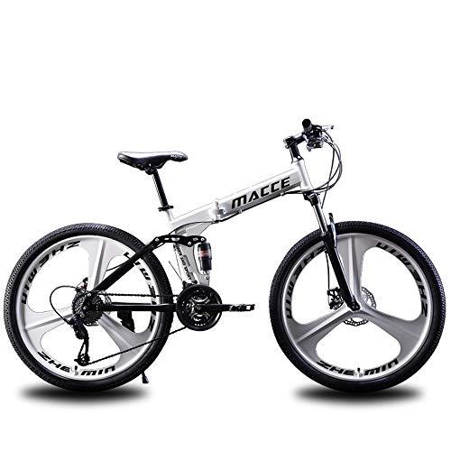 Bicicleta de montaña 24/26 pulgadas, bicicleta de montaña todoterreno, bicicleta plegable de 21/24/27 doble freno de disco horquilla delantera horquilla trasera bicicleta antideslizante,White,24in/21speed