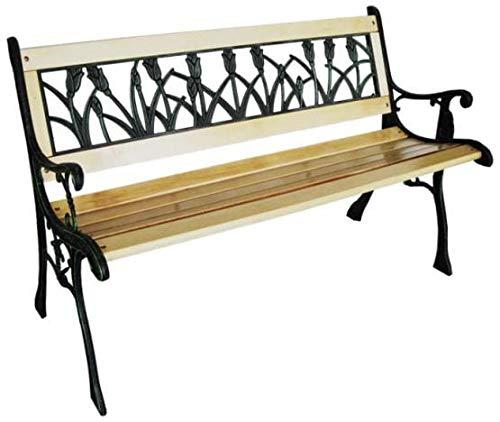 Gartenbank – Parkbank Wetterfest | Metall - Gusseisen – Holz | Garden Bench 3-Sitzer | Solide Konstruktion 120cm | Sitzbank Draußen | Balkon, Terrasse, Garten | Original Design (Tulpen)