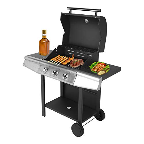 AYNEFY BBQ LPG Gas Grill, Stainless Steel 3 Burner Cart Style Liquid Propane Gas Grill BBQ Machine Grilling Tools for Home Restaurant, 47.3 x 18.5 x 44.1 inch Grills Propane