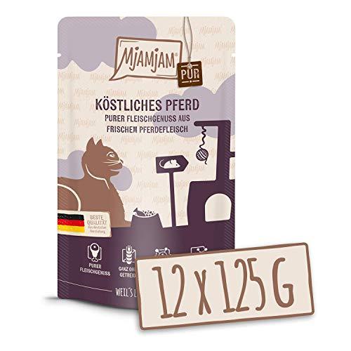 MjAMjAM - Premium Nassfutter für Katzen - Quetschie - purer Fleischgenuss - zartes Känguru pur, 12er Pack (12 x 125 g), getreidefrei mit extra viel Fleisch