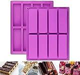 2 moldes rectangulares grandes de 8 cavidades de silicona para nutrición/cereales, barras energéticas para hacer barras de chocolate, trufas, pan, brownie, pan de maíz, queso, pudín de mantequilla