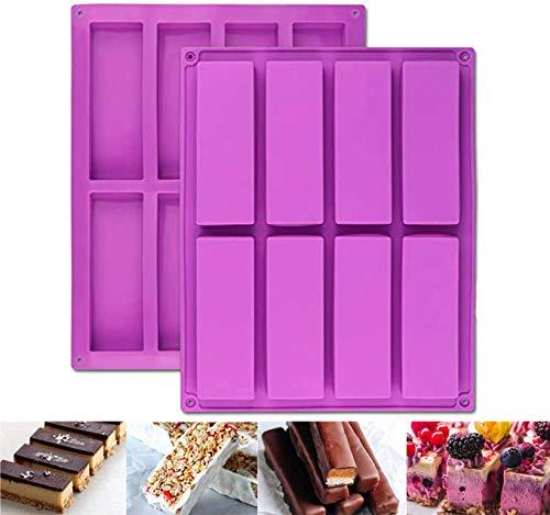 2 moldes rectangulares grandes de 8 cavidades de silicona para nutrición/cereales, barras energéticas para hacer barras de chocolate, trufas, pan, brownie, pan de maíz, queso, pudín de mantequ