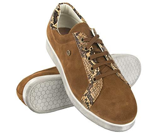 Zerimar Zapatillas Mujer Piel | Zapatos Planos Mujer Cuero | Zapatillas Deportivas Mujer Piel | Zapatos Casuales Mujer Cuero | Deportivas Mujer Piel | Color Camel Talla 41