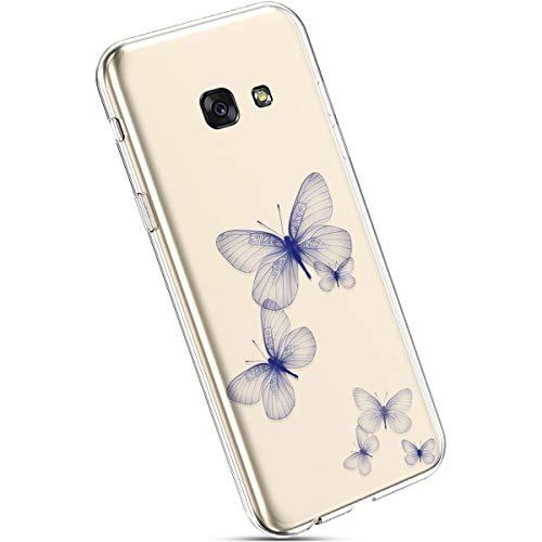 Ysimee Hülle kompatibel mit Samsung Galaxy A3 2017 Handyhülle, Transparent Weiche Silikon Schutzhülle Muster Blumen [Crystal Klar] TPU Bumper Case Dünne Stoßfeste Protective Hülle, Schmetterling